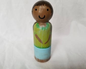 Peg People - Wooden Doll - Handpainted - Brown Hair - Pigtails - Green - Ungendered - Montessori - Waldorf - Sensory - Izzy&Coco