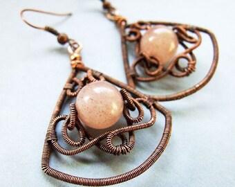 earrings tutorial - wire wrapped earrings copper autumn pattern - tutorial 19