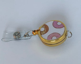 ID Badge Reel - Gold or Silver and Pink Frosted Donuts Design for Nurses and Professionals