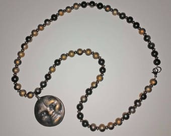 Antiqued Gold Moon Necklace