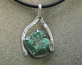 Sterling Silver pendant with Candelaria mine turquoise James Saunders artsit , JS PD 022