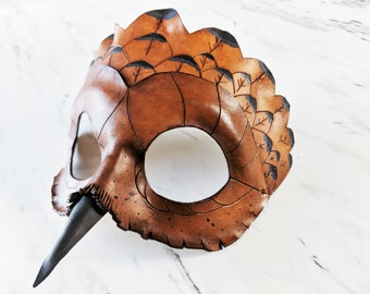 Leather Owl Mask / Brown Owl mask / Animal Mask