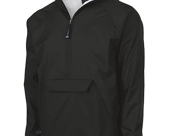 Monogrammed Unisex Pullover Wind and Rain Jacket Black