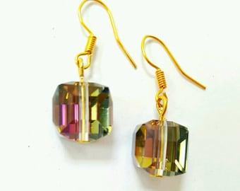 Rainbow crystal earrings, crystal earrings, spectrum earrings, rainbow jewelry, rainbow earrings, cube crystal earrings, cube earrings