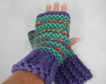 Wrist Warmers, Fingerless Gloves, Fingerless Mittens, Texting Gloves, Texting Mittens, Hand Knit Gloves, Purple Seagreen Rainbow Gloves