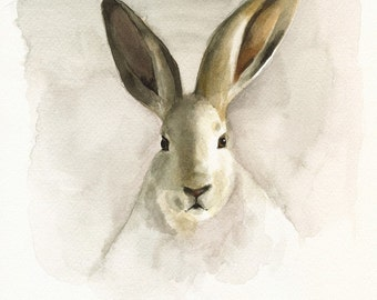 """Rabbit Watercolor-""""Blackberry"""" 11 x 14-nature-neutrals, cream, woodland,shabby chic, french country, nursery decor"""