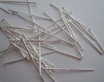 Silver plated head pins 20mm (0.78 inch) headpins pack of 200