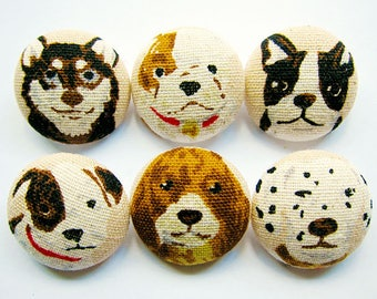 Sewing Buttons / Fabric Buttons - 6 Large Fabric Buttons Set - Dog Portraits