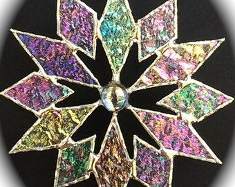 stained glass snowflake suncatcher (design 4B)