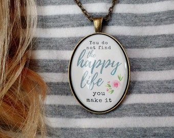 Happy Life Watercolor Floral Glass Dome Pendant Necklace - Brushlettered Flower Jewelry - Gift for Her -  You do not find the Happy Pendant
