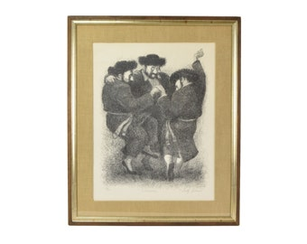 """Tully Filmus Limited Edition Lithograph """"Celebration"""" Jewish Men Dancing"""