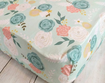 Mint Floral Crib Sheet