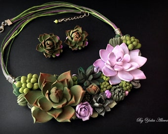 Green Succulent jewelry. Polymer clay necklace. Polymer clay jewelry. Polymer clay Succulent. Succulent  necklace. Succulent Jewelry set