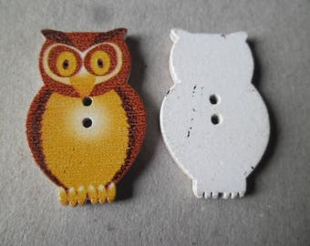 x 6 wooden Owl 2 brown tone buttons holes 3.2 x 2 cm