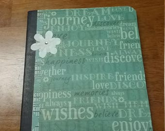 Altered composition book ideal for memory keeping or journal - journal - writing book - altered notebook