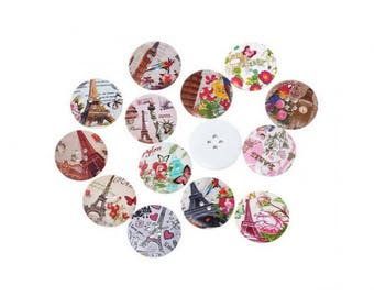 50 buttons landscapes and landmarks 3cm round
