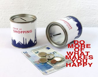 Travel fund PARIS POUR le SHOPPING Vacation Piggy Bank, Trip Fund Cash Box, money saver, globe bank vacation savings bank - made by 44spaces