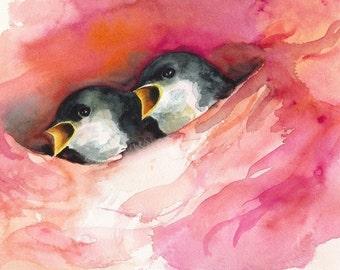Satin Nest- Baby Birds ARchival print
