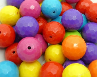 20mm Faceted Disco Ball Beads - Bulk 30pcs - Candy Color Beads, Chunky Bubblegum Beads, Round Acrylic Beads - BR4-9