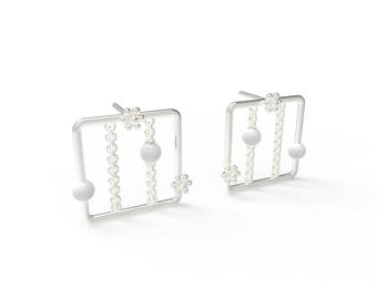 Snowflake window square Earring-Sterling Silver, Pearl