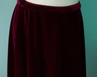 velvet high waist skirt