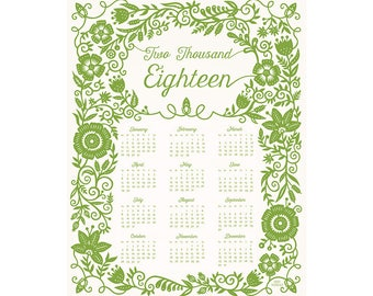 CLEARANCE 2018 Wall Calendar - Floral Swirl - Printed 11x14 Year-at-a-Glance Calendar
