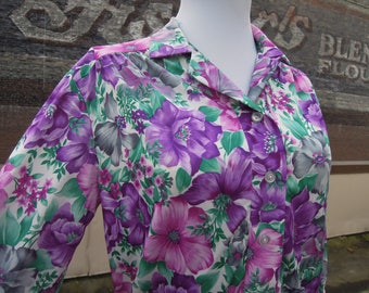 Vtg Retro Floral Wallpaper Jersey Knit Polyester Shirt Medium Large 70's 80's