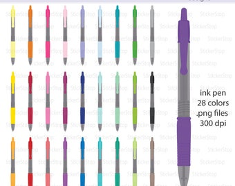 Ink Pen Icon Digital Clipart in Rainbow Colors - Instant download PNG files