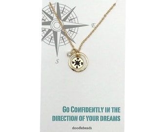 "Girl Graduation gift, wanderlust necklace, silver or Gold Compass Necklace with card  ""Go confidently in the direction of your dreams"""