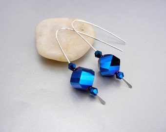 Cerulean blue earrings of helix metallic glass on sterling silver wire // wedding party bridesmaid jewelry