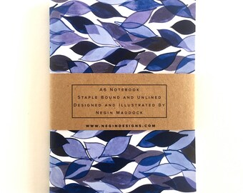 Patterned A6 Pocket Notebook, Stationary, Illustration, Notebook : BLUE LEAVES