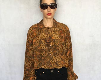 80s Vintage Abstract Pattern Button Up Slouchy Blouse