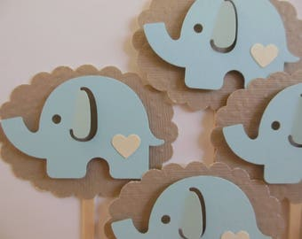 Elephant Cupcake Toppers - Light Blue and Taupe - Boy Baby Shower Decorations - Boy Birthday Party Decorations - Set of 6