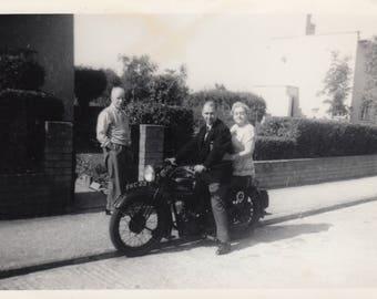 Vintage Motorcycle Motorbike Photo Antique Bike Biker Black & White Photography Ephemera Vernacular Design Found Snapshot