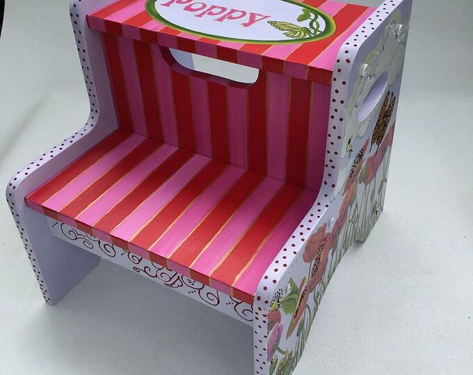 Personalized Step Stool - Poppy Design