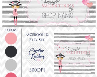 Timeline Banner Happy Valentines Day Watercolor Hearts Facebook Cover Set Facebook Business Page Set - Digital Files