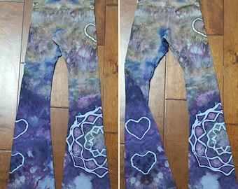 Yoga Pants, XS Women's yoga pants, Tie Dye Yoga Pants, Leggings, Royal Apparel, Cotton Boho Pants, Bohemian, Festival pants, workout pants