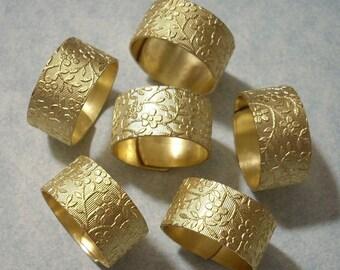 6 Flower Rings, Adjustable Brass Rings, Ring Blanks, Floral Rings, Flower Band Rings