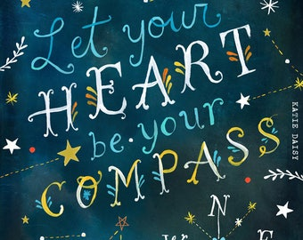 Heart Compass - various sizes - STRETCHED CANVAS - Katie Daisy art
