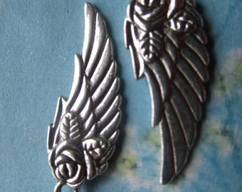 10pcs 31x11mm tibetan silver rose flower wing charms findings