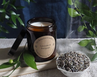 Lavender & Petitgrain Scented 180ml Amber Glass Jar Soy Wax Candle