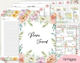 Prayer journal printables/ Prayer binder/ Bible verse journal/ Devotional journal/ Christian journal/ Bible journaling kit/Scripture journal
