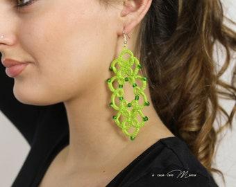 Green lace earrings, modern woman earrings, summer fashion