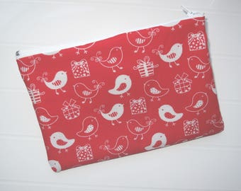 Red Pouch Makeup organizer Cosmetic case with white birds