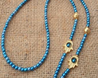 Hamsa Hand Eyeglass Chain, Eyeglass Chain Holder, Blue Bead, Beaded Eyeglass Chain, Glasses Chain, Eyeglass Necklace, Gift for Woman,