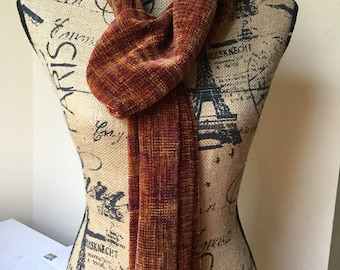 Handwoven rayon chenille scarf - blend of autumn colors