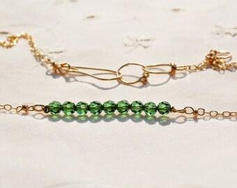 Crystal Bar Necklace Gold Filled Crystal Necklace Bead Bar Necklace Dainty Green Crystal Bead Necklace Beaded Necklace Gold Filled Ship Free