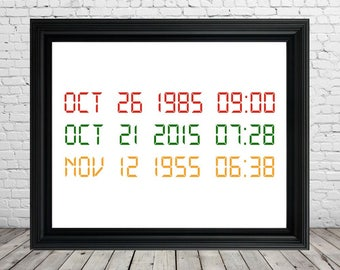 Back to the Future Movie Quote Poster Sign, Instant Digital Download, Time Machine DeLorean Dates