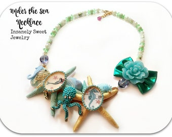 Under the Sea Starfish Necklace- Statement Necklace- Mermaid Jewelry