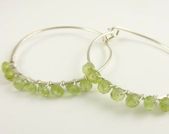 Handmade Sterling Silver Hoops with Peridot - Prima Donna Beads